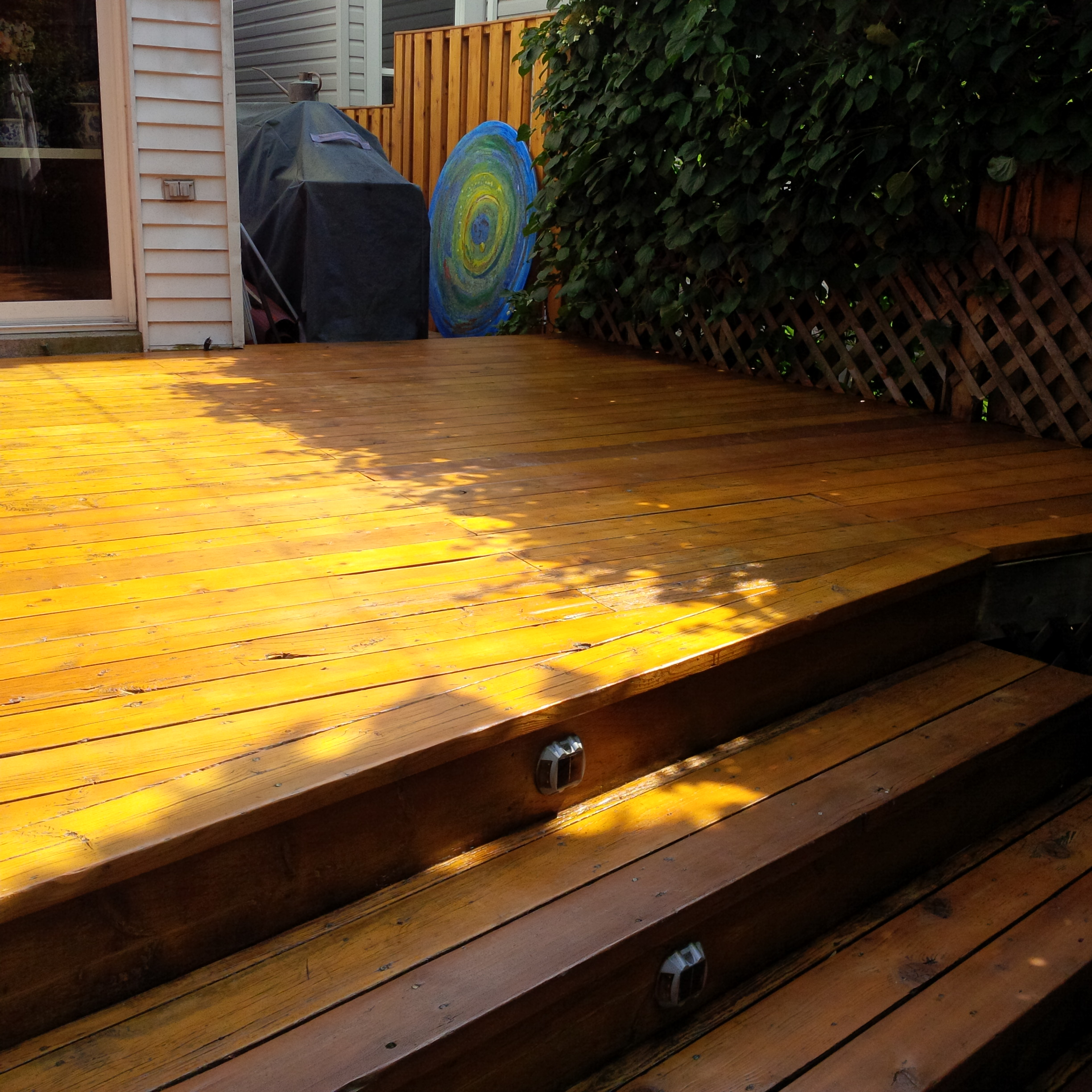 Patio stairs stained Behr Natural 500 transparent 2 – We ll do it